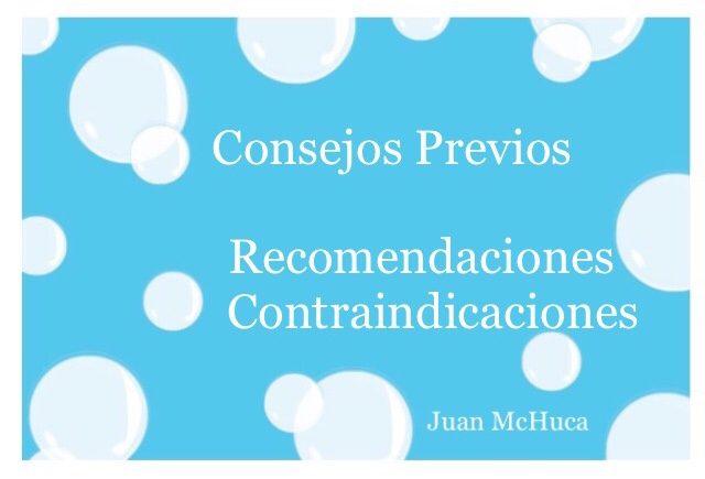 Cartel Consejos Previos, Recomendaciones y Contraindicaciones